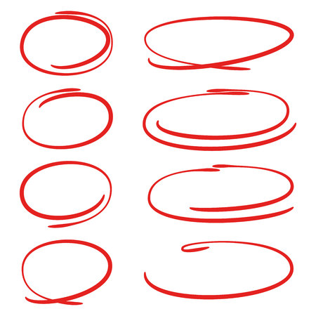 red hand drawn circle set for marking text Ilustração