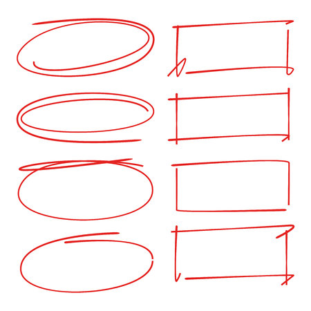 red hand drawn oval and rectangle set