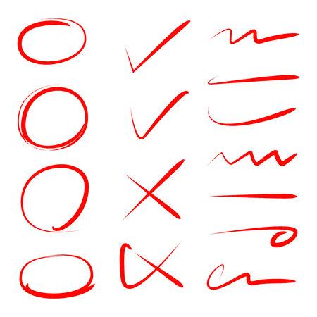 círculo rojo, marca de verificación y línea de garabatos para resaltar el texto