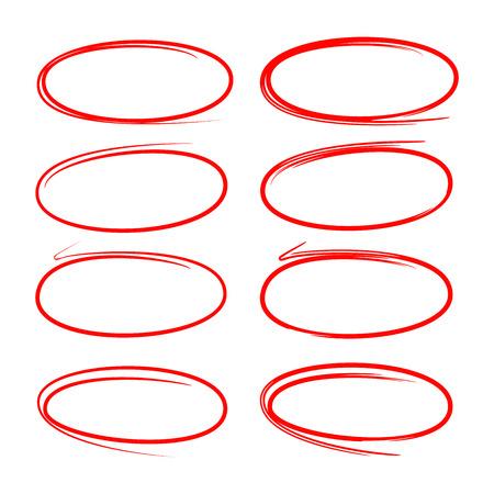 Círculo rojo, marcadores ovalados para resaltar textos