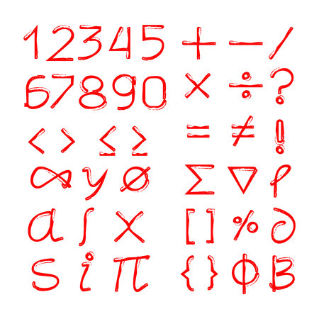 red hand drawn number and math symbols