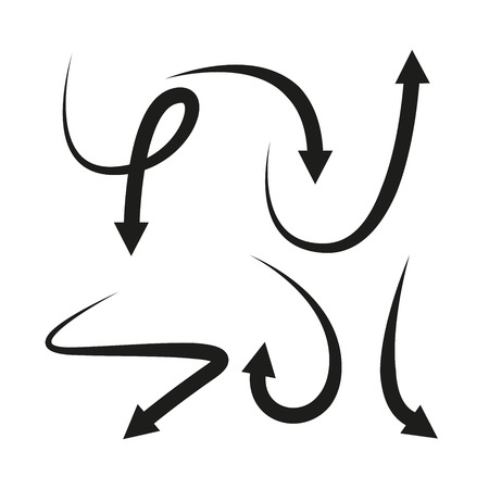 Curve Arrows in white background Ilustración de vector