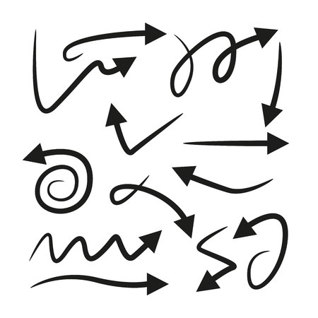 Curve Arrows in white background