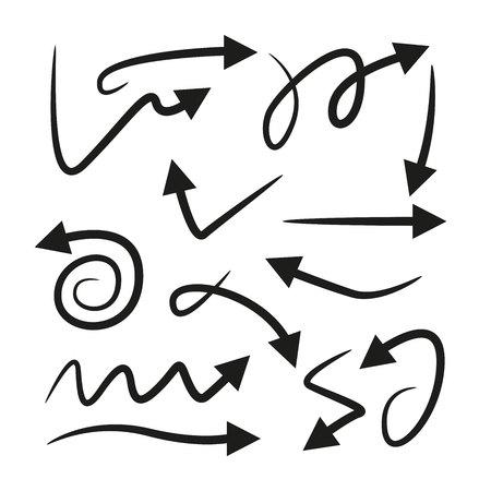 Flechas curvas en fondo blanco.
