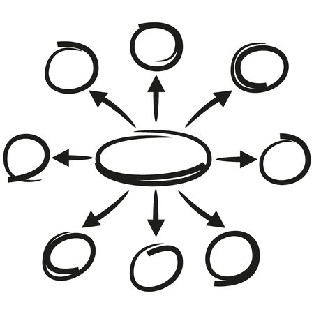 black hand drawn circles and arrows for mind mapping diagram