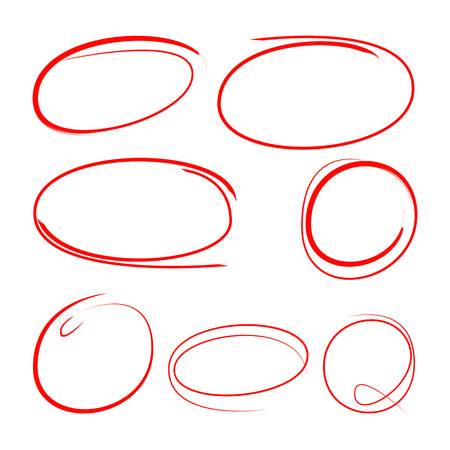 red scribble circle set for highlighting text Illustration