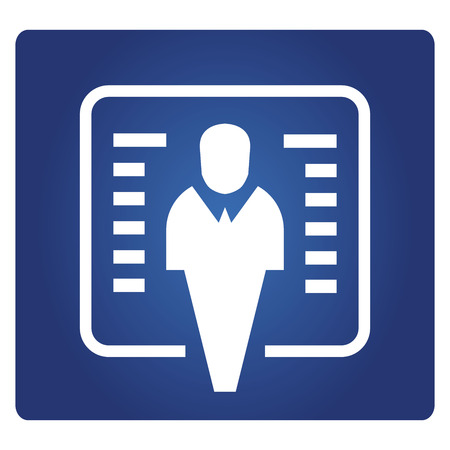 business man and whiteboard icon on blue background