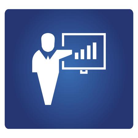 business people presentation on blue background Çizim