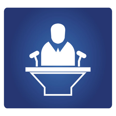 speaker and podium icon on blue background