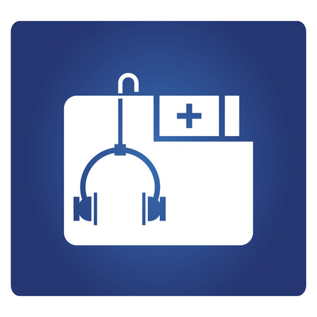 medical data folder icon on blue background