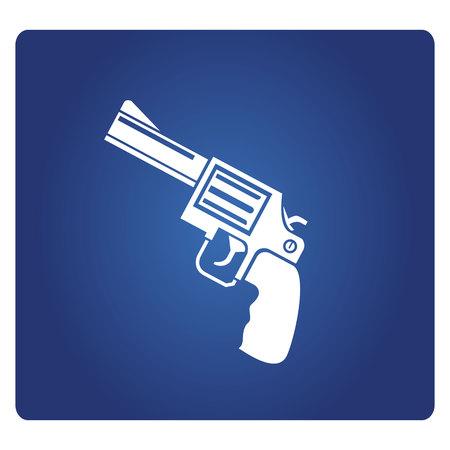 Revolver gun icon on blue background