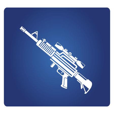 Rifle sniper gun icon on blue background