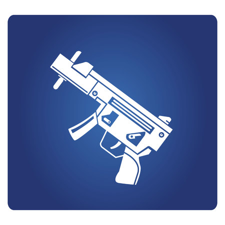 Machine gun icon on blue background