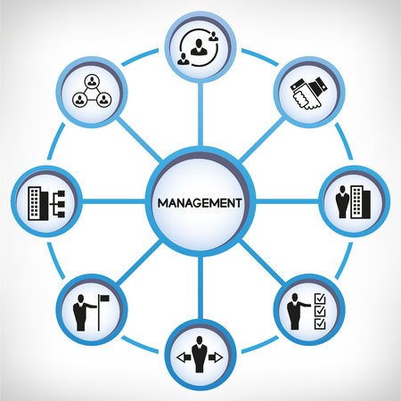 Management icons in circle diagram