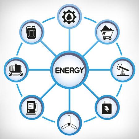 Energy icons in circle diagram on white background Standard-Bild - 104155106
