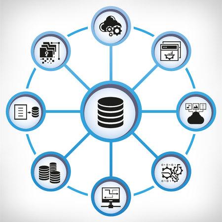 Database and web analytics icons in circle diagram on white background