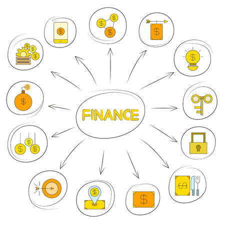 Finance icons in circle diagram on white background