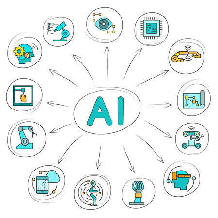 Artificial intelligence and robotic icon in circle diagram on white background