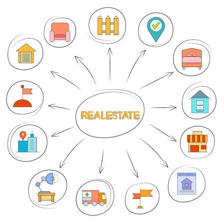 Real estate icon in circle diagram on white background Illustration