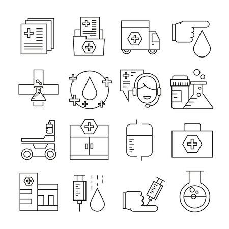 Medical icons outline on white background Stock Illustratie