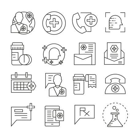 Medical and pharmacy icons outline on white background Çizim