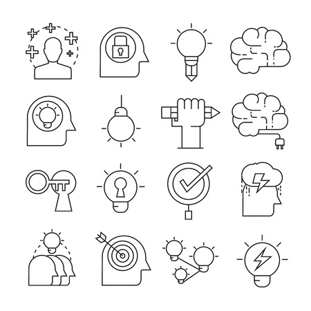 Creative and brain icons outline on white background
