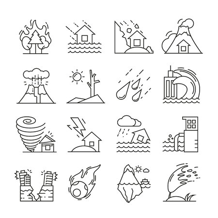 Natural disaster icons thin line on white background Illustration