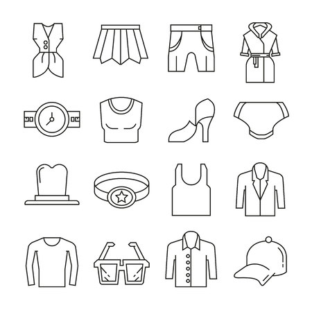 Clothing and accessories icons thin line on white background Illustration