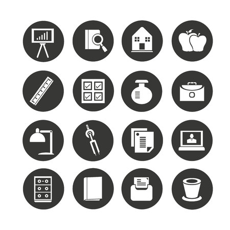office supply icons set in circle button style