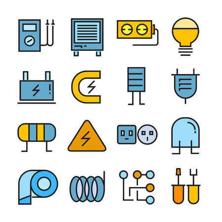 Electricity icons in color style