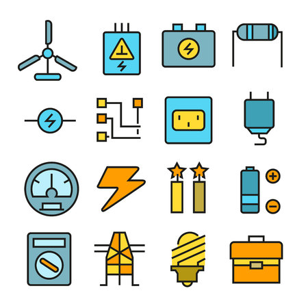 Electricity and energy icons in color style