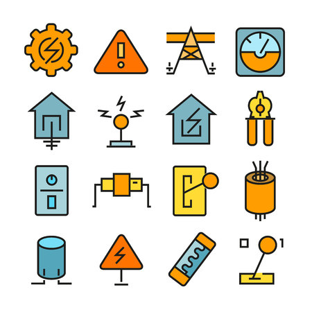 Electricity and tool icons color style
