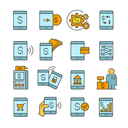 Mobile payment and mobile banking icons color style Ilustracja