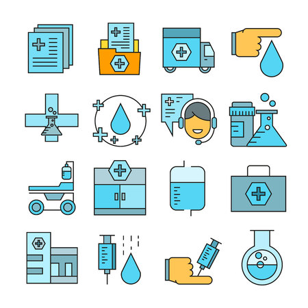 Medical icons color style