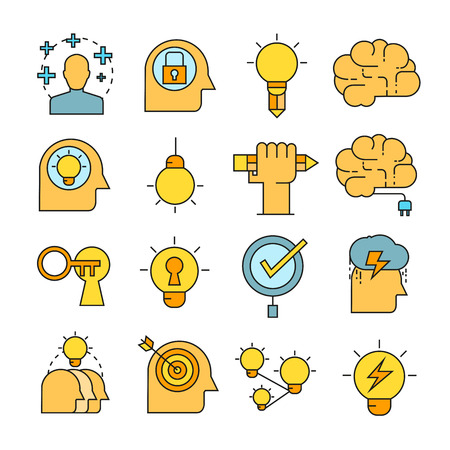 Creative and brain icons color style Illustration