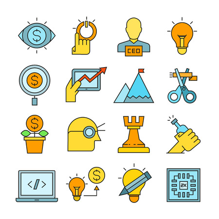 startup business icons color style