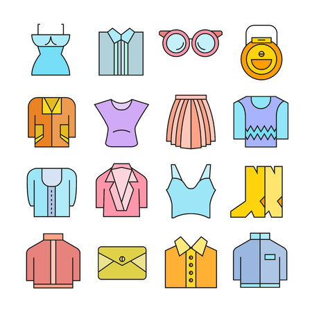 Clothing and accessories icons color style Illustration