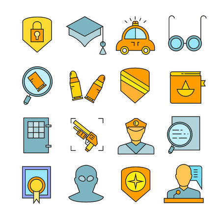 law and justice icons color style