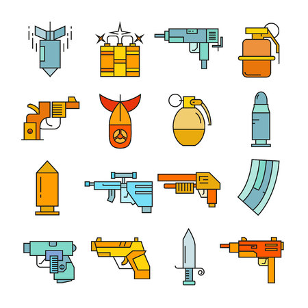 gun and weapon icons color style