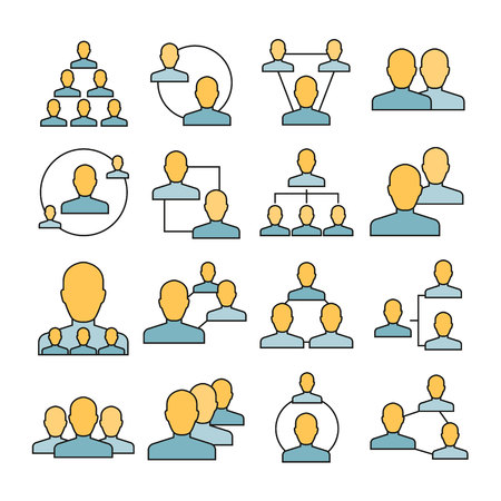 people network and people connection icons color style
