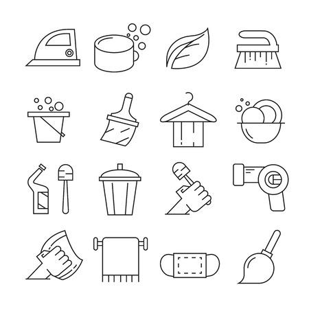 Hausreinigungssymbole setzen Linienart