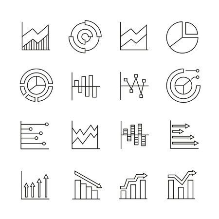graph and chart icons in thin line style Illustration