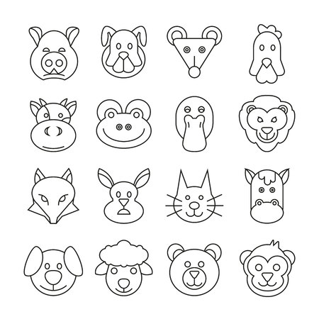 animal head icons set in thin line style Illustration