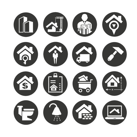 real estate icons set in circle button style