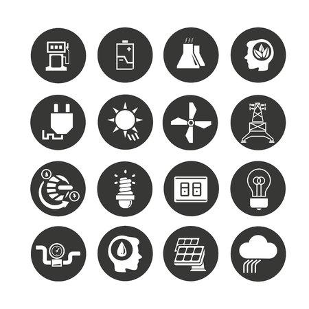 energie pictogrammen instellen in cirkel knop stijl