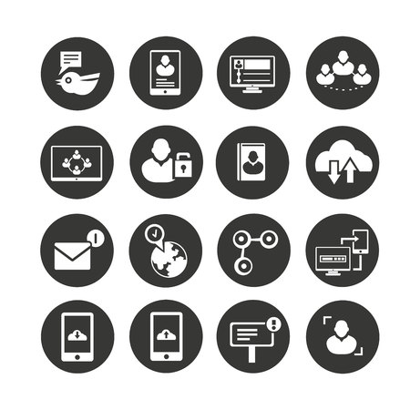 media icons set in circle button style