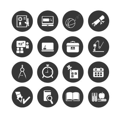 education icons set in circle button style