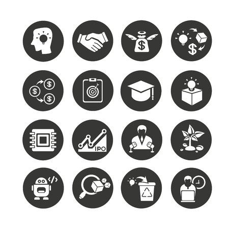 business startup icons set in circle button style Vectores