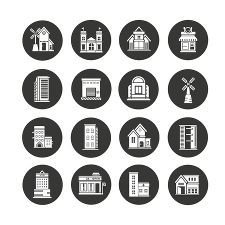 building icons set in circle button style Banco de Imagens - 104200844