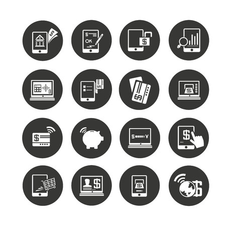internet banking icons set in circle button style